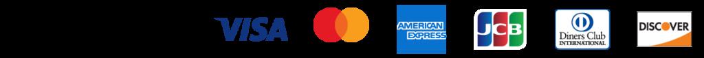 VISA、MasterCard、 American Express、JCB、Diners Club、Discover